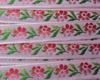 3 Yards Floral Jacquard Trim 1/2 Inch Wide Pink and Green  VT 163