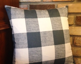 Gray Buffalo Plaid Pillow Cover With  Zipper Closure