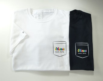 T-shirt, White, Black,  Ohana, adult, Junior, family, Hawaï.