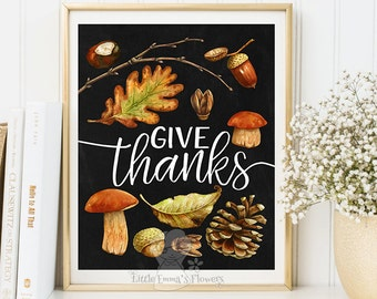 printable thanksgiving art print fall decoration sign printable decor give thanks poster autumn home decor fall quotes printables 6-3
