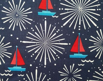 Fireworks and Boats Cotton Fabric