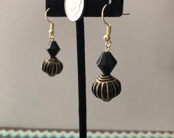 Black/Gold Dangle Earrings