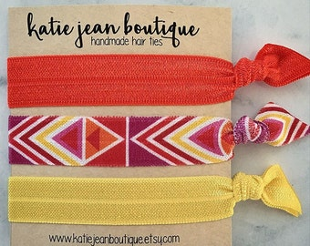 Elastic Hair Ties - Sunset Aztec Collection