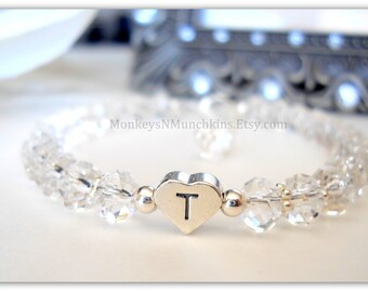 Child's Swarovski Crystal and Sterling Silver Personalized Bracelet B220