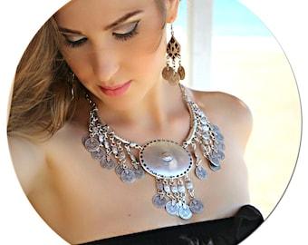 Boho Necklace-Bohemian Necklace-Silver Statement Large Necklace-Silver Chunky Necklace-Unique Necklace-Antique Necklace-Collar Necklace