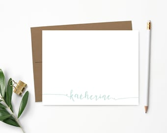 Personalized Note Card Set. Personalized Stationery. Cute Calligraphy. Personalized Stationary. Notecards. Personalized Gift // NC104