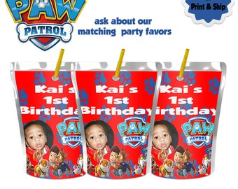 Paw Patrol Juice label-Caprisun-Party favors-First Birthday-Printable-Pouch Labels-Digital-Printed-Party supplies-Custom-Party printables