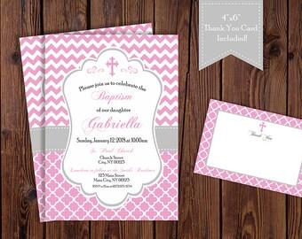 Girl Pink Baptism, Christening, Bautizo Invitation -  Digital