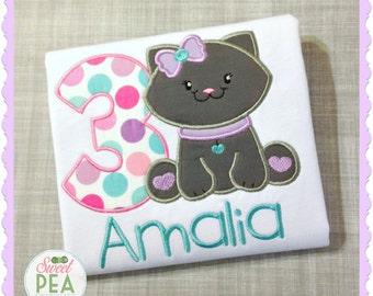 Personalized Kitty Cat Birthday Shirt - Girls Birthday Shirt - Kitty Shirt - embroidered Shirt - cat party - Kitty Cat Birthday