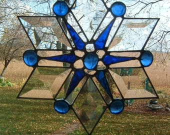 Clear Bevel and Blue Snowflake Suncatcher