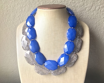 Blue & Gray Necklace, multi strand jewelry, big beaded chunky statement necklace, royal blue necklace, bridesmaid necklace, gray