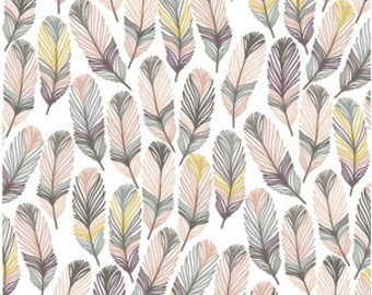 BOHO Crib Sheet BLUSH GRAY Feather Baby Bedding /Fitted Crib Sheet /Pink Grey Feathers /Changing Pad Covers /Mini Crib Sheets / Crib Bedding