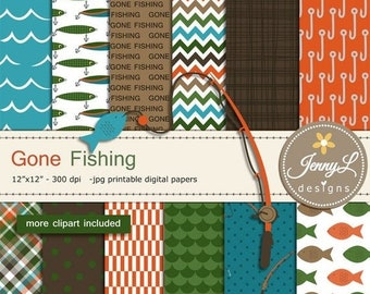 50% OFF Fishing Digital Papers and Clipart SET, fishing lure, rod, Father's Day Gone Fishing for Digital Scrapbooking, invitations,  Planner