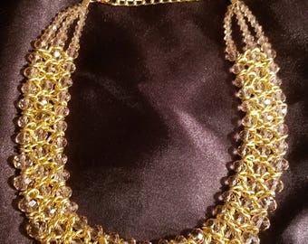 Gold and chocolate  goddess necklace