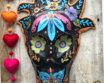 Mexican Folk Art Day of The Dead Mask