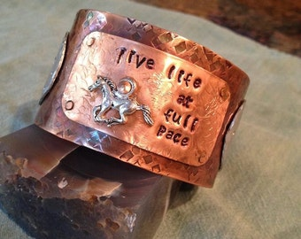 """icelandic horse cuff bracelet """"Live Life at Full Pace"""""""