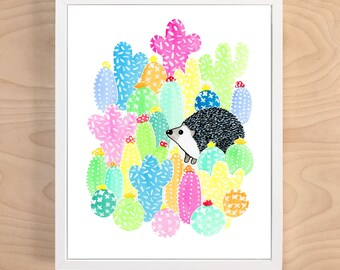 Hedgehog Print (hedgehog art - hedgehog gift - animal art - hedgehog painting - hedgehog cactus - cactus print - cactus art - cactus decor)