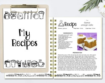 Lovely Black And White Recipe Book Template, Editable Recipe Pages, DOC Template, Cookbook  Template