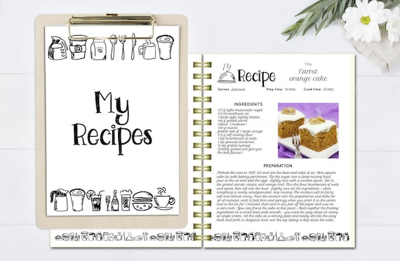 Black And White Recipe Book Template Editable Recipe Pages Doc