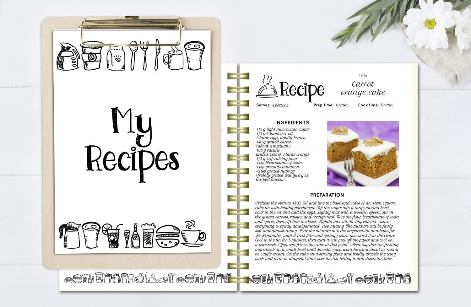 Editable Cookbook Cover : Black and white recipe book template editable pages