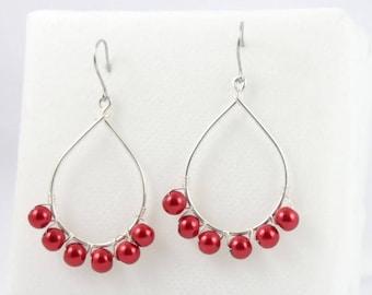 Drop beaded earrings metallic red.