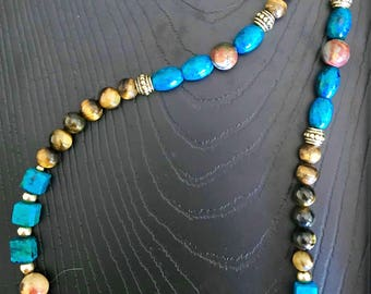 Tigers eye with phoenix stone, blue jasper and gold spacer beads