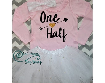 Half Birthday Shirt Gold Glitter Half Birthday One Half Birthday Outfit Sparkle Glitter top 1/2 Birthday outfit 6 month birthday