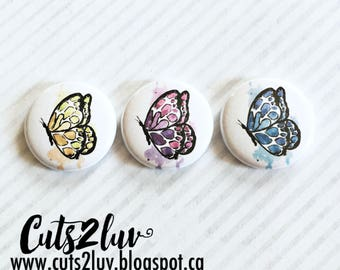 "3 buttons 1 ""butterflies watercolor multicolors"