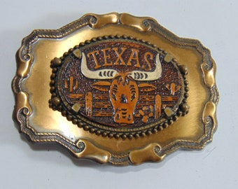 Vintage Collectible Texas Longhorn State Belt Buckle w/ Leather Insert