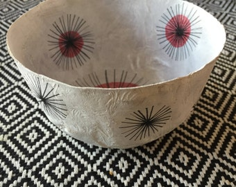 Fireworks---medium paper mache bowl