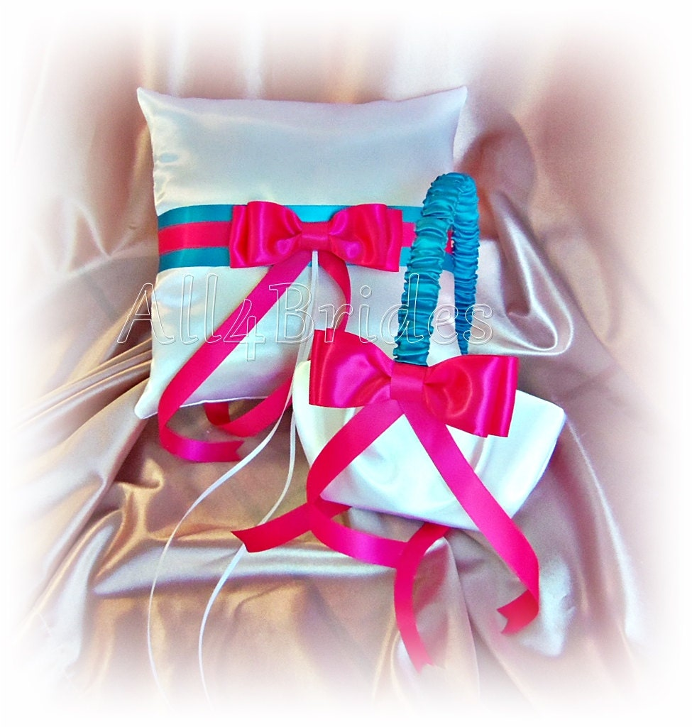 Hot pink and turquoise wedding ring pillow and flower girl