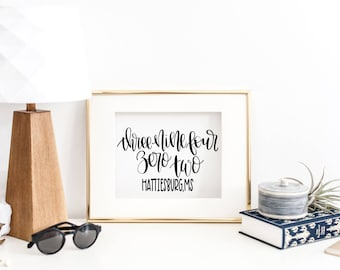 Hattiesburg MS - Hand Lettered Zip Code - Printable and Cut Files