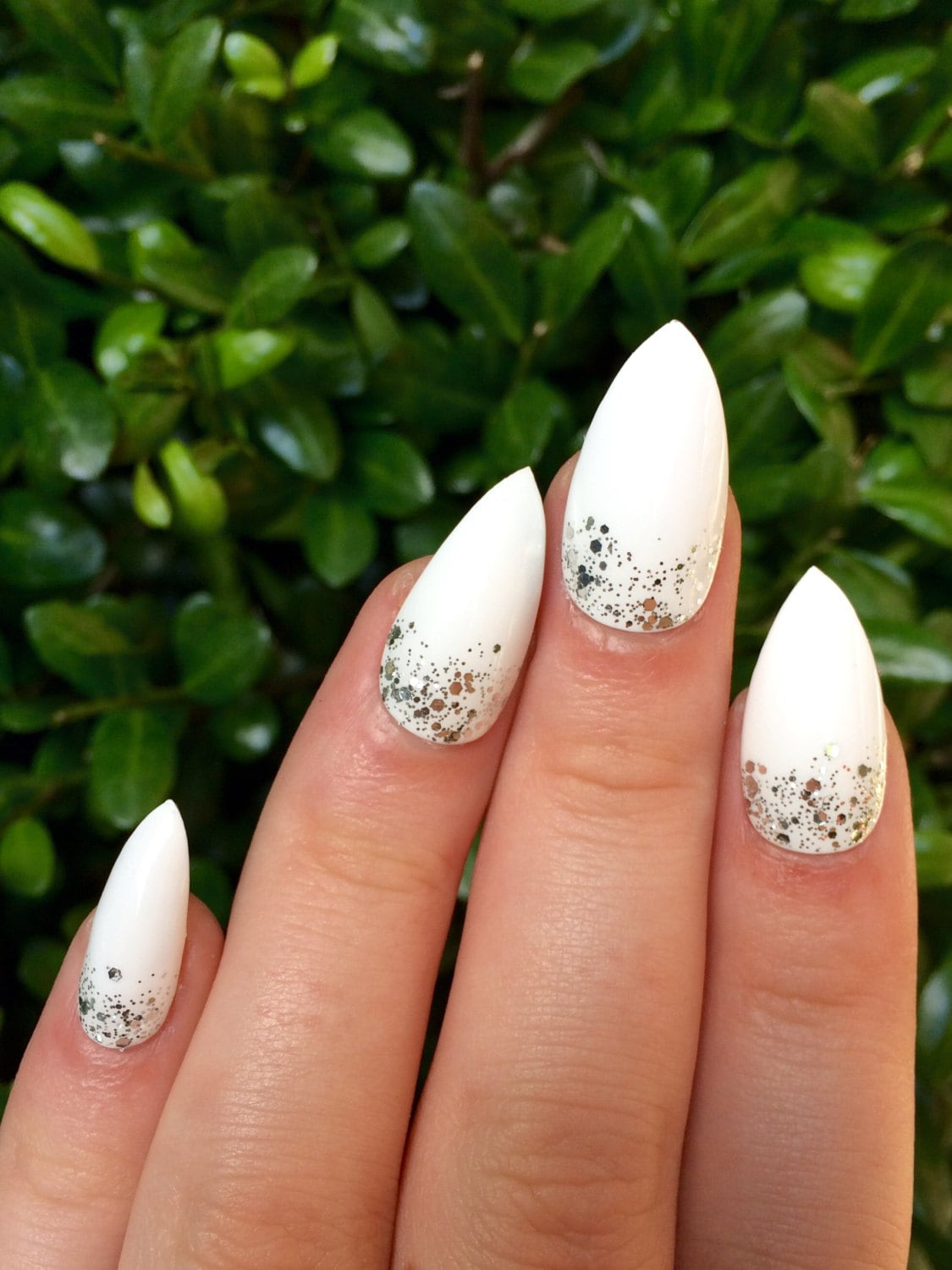 Fake nails white nails stiletto nails