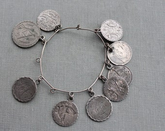 Victorian Love Token Coin Charm Collection / Silver Love Token Charm Bracelet / 1880s Seated Liberty