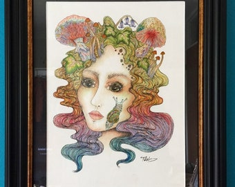 We're all mad here | 12x9 | original mixed media framed drawing-The Freak Boutique Art