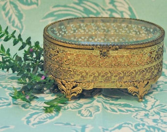 Gold Jewelry Casket with Glass Top