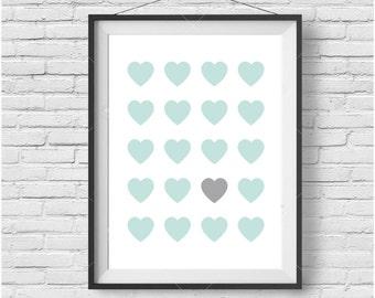 Mint Love Hearts Print, Kids Room Art, Nursery Print, Heart Poster, Simple Art, Mint Print, Mint Decor, Simple Art, Abstract Print, Digital