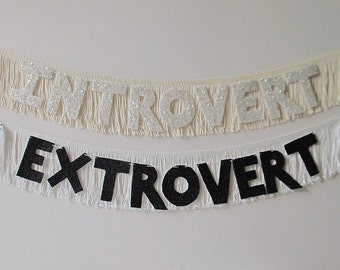 Introvert / Extrovert / or Ambivert Glittering Fringe Banner | garland, home decor, wall hanging, party banner, sign, statement, dorm decor