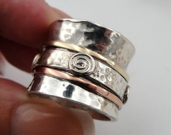 SALE! Silver Band, Wedding Lady Fine 9K Gold and 925 Sterling Silver Swivel Infinity Band  Ring size 6.5, 7, 8.5 (d