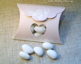 Shabby Chic Pillow Style Wedding Favour with Heart Window & Pearls.