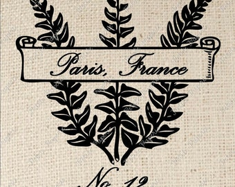 French Fern Paris Digital Download Iron on Transfer