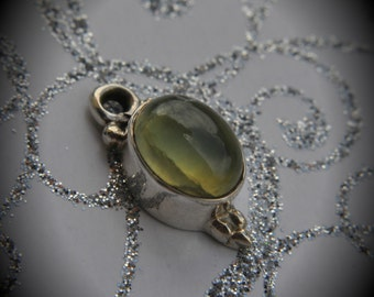 Genuine Solid Sterling Silver Cabochon Prynite Pendant