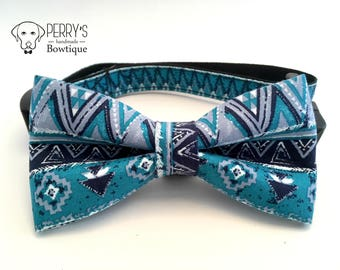 Aztec Pattern in Blue Bow Tie and Collar