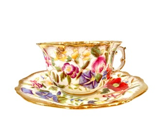 Queen Anne Tea Cup and Saucer, Vintage, Made by Hammersley - England, Chintz