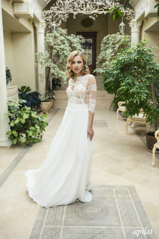 Böhmische Hochzeit Kleid L19 mit Spitze schlichtes Brautkleid