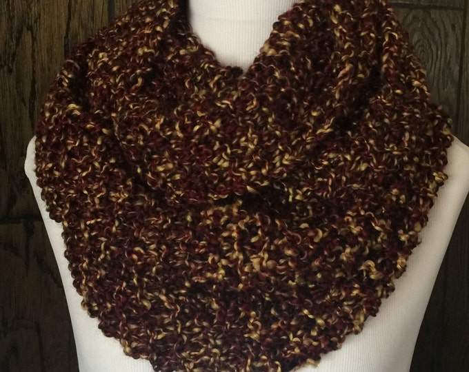Featured listing image: Outlander Inspired Hand Knit Claire's Cowl Infinity Scarf in Rich Browns with Golden Tones