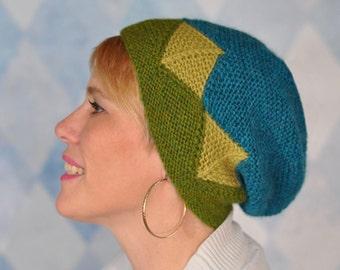 Knitted Modular Hat Pattern PDF, Modular Knit Hat Pattern, Garter Stitch Hat Knitting Pattern, Knit Garter Hat Pattern, Garter Geometry Hat