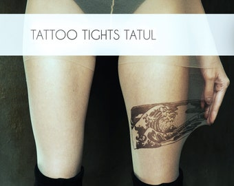 Asian Wave Tattoo Tights, original hand-painted drawing on pantyhose