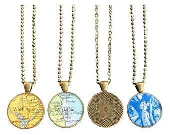Custom Map Necklace Bold Bronze Loop Vintage Atlas Your Choice of City Minimalist Pendant