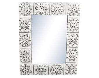 Alternating Flower 16 in. x 22 in. Tin Mirror